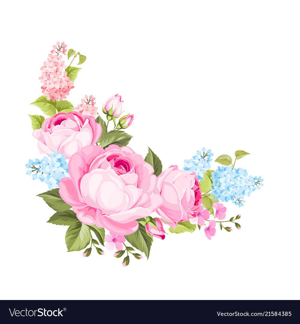 A spring decorative bouquet of roses flowers
