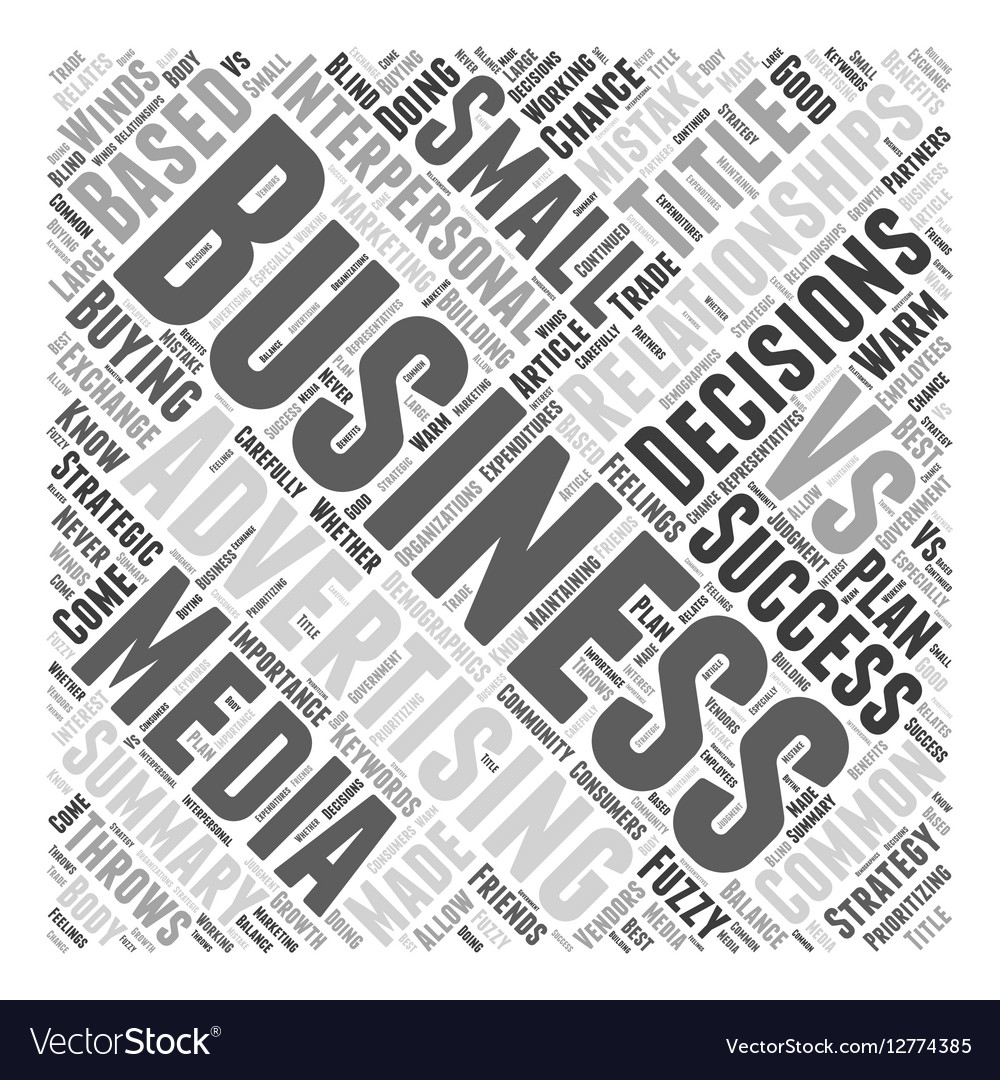 Advertising Relationships vs Business Decisions vector image