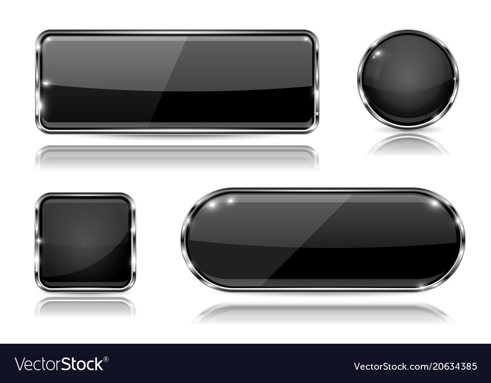 Black glass buttons with chrome frame set of