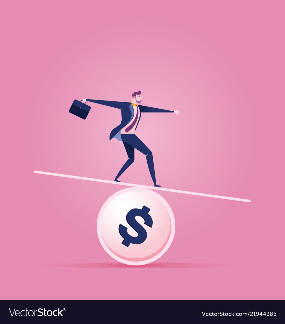 Businessman balancing on a coin - business concept