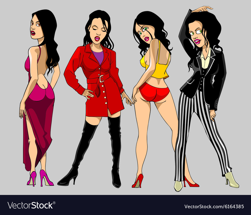 Cartoon show clothing female fashion model vector image