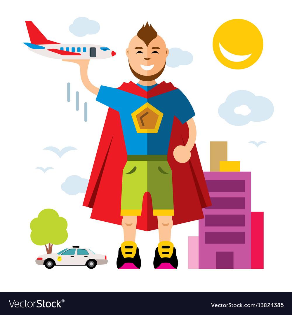 City superhero flat style colorful cartoon