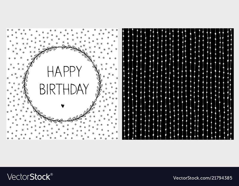Cute Hand Drawn Birthday Card Set Royalty Free Vector Image