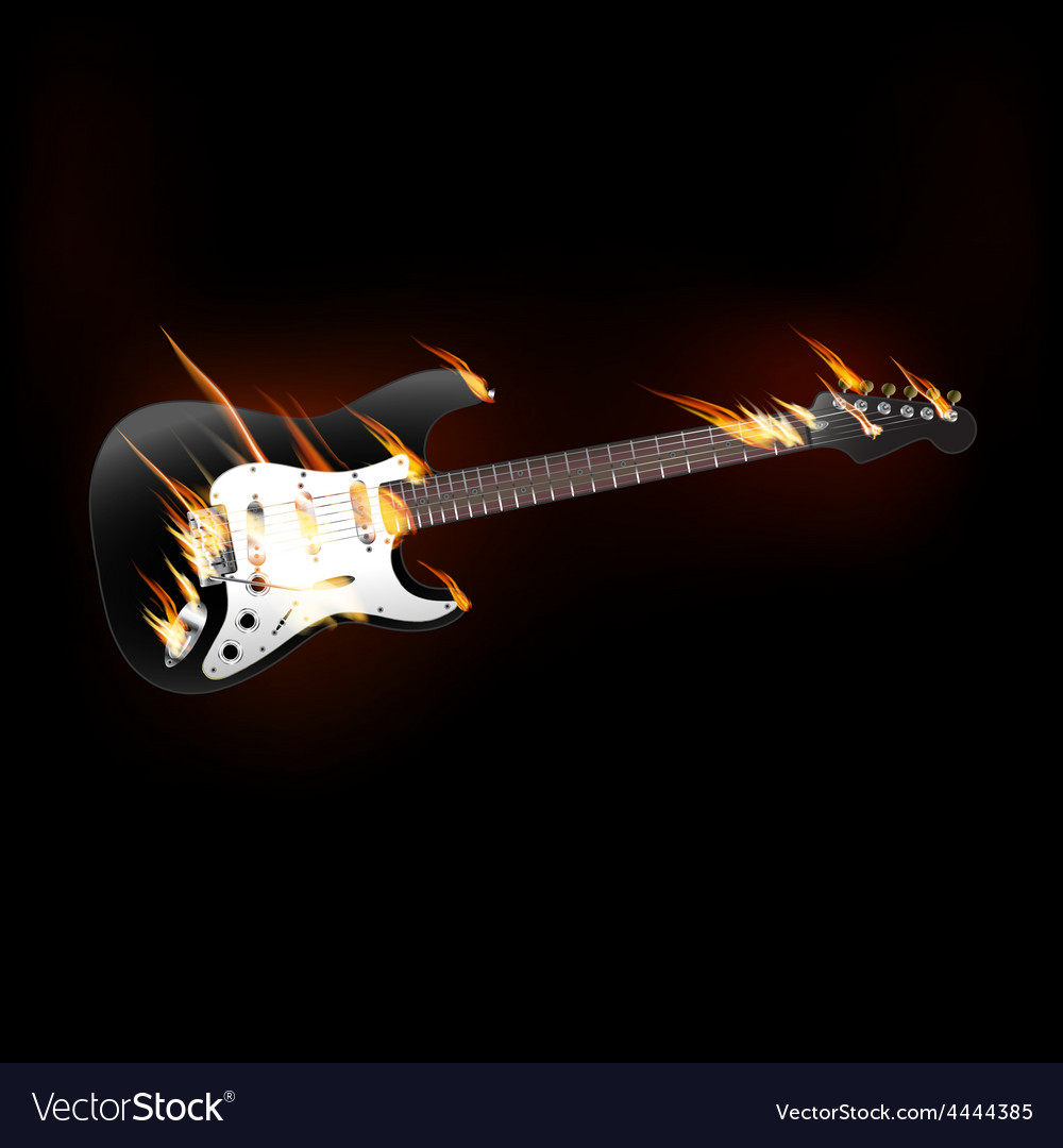 Electric guitar on fire vector image