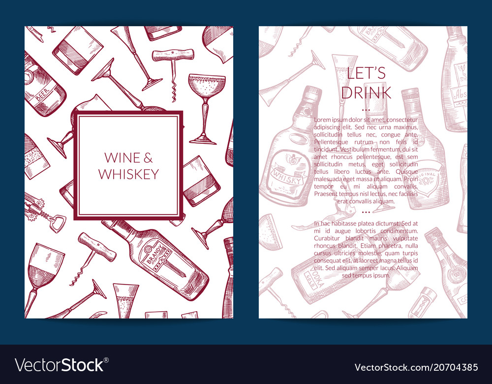 Hand drawn alcohol drink bottles and vector image