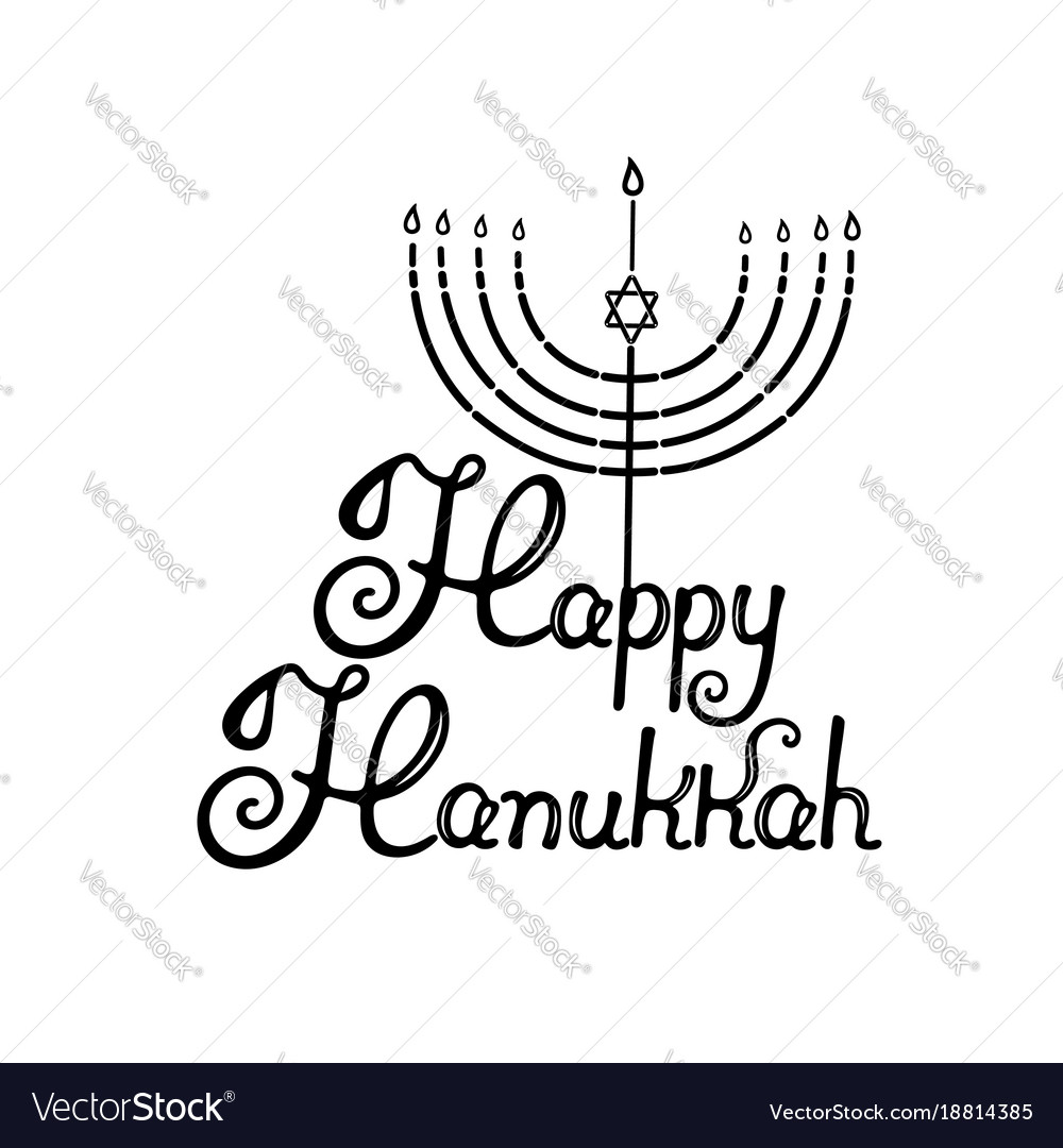Happy hanukkah hand lettering menorah with the