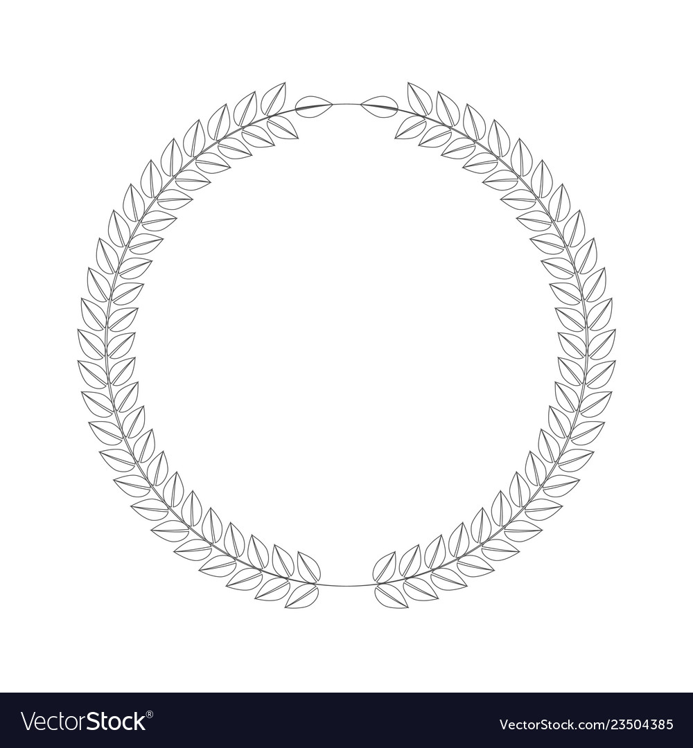 Line art style wreath leafs in cirlce or round