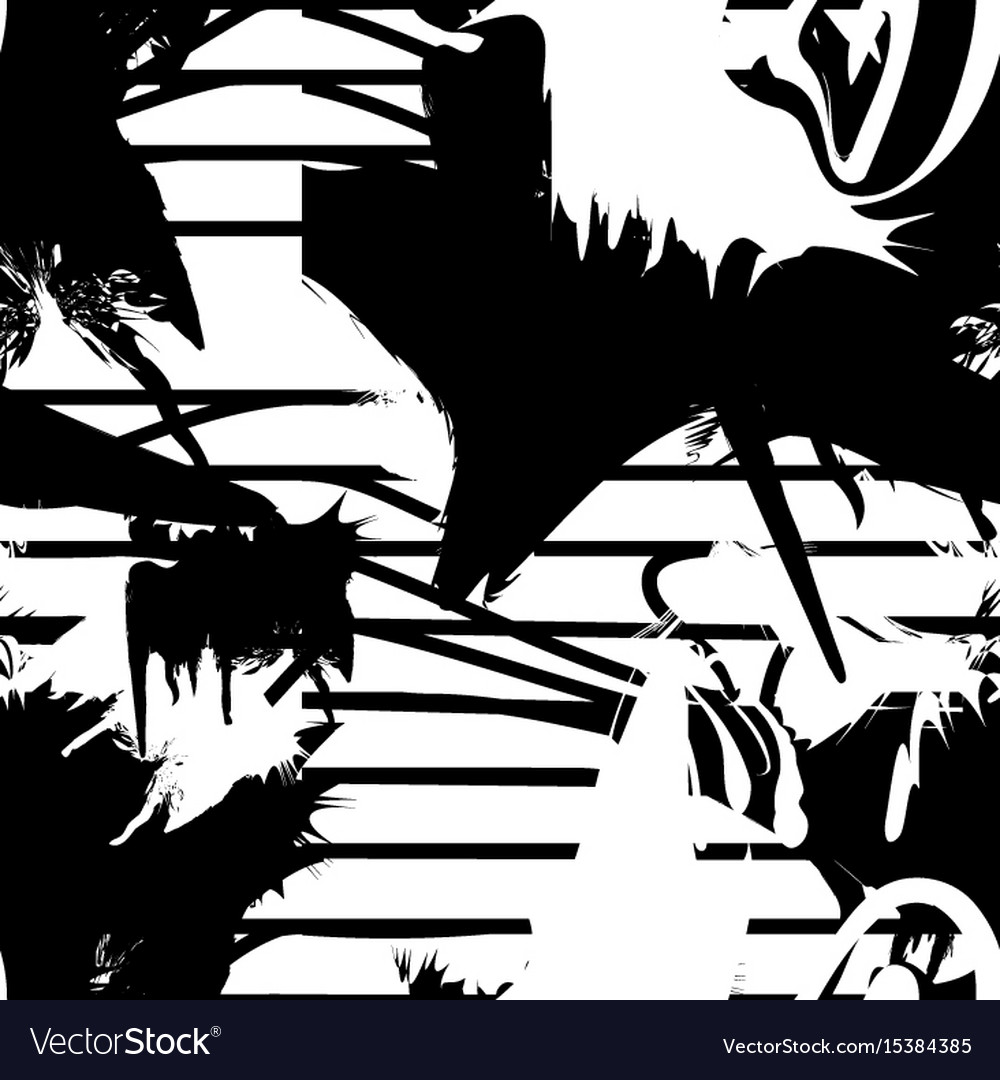Monochrome seamless pattern with ink brush