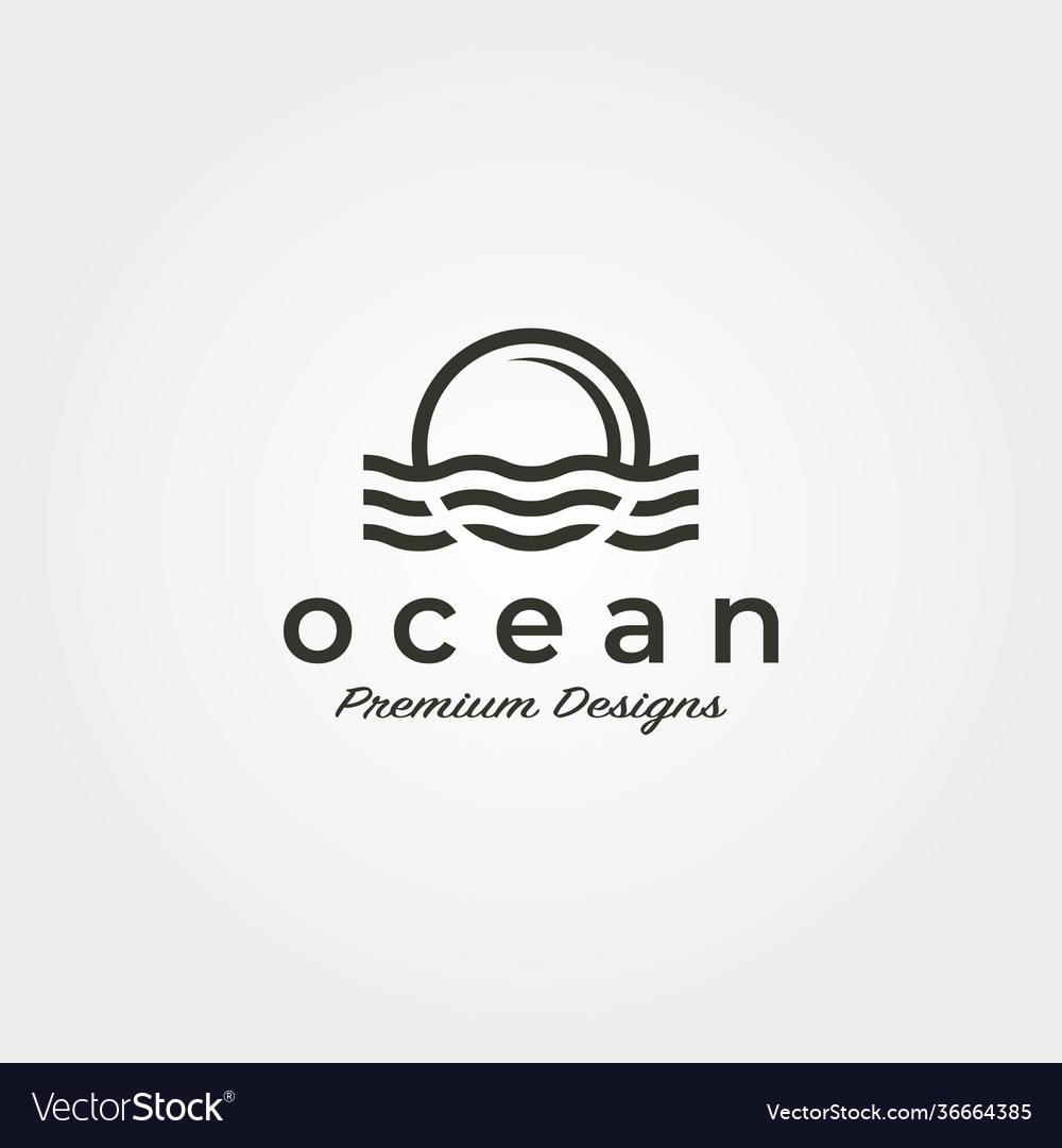 Ocean wave sunset logo icon symbol minimalist
