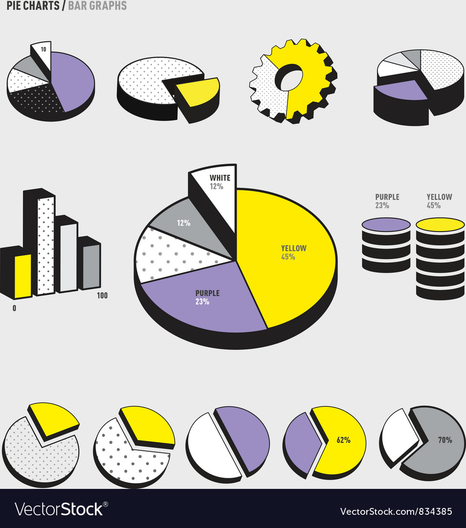Pie Charts Infographic vector image
