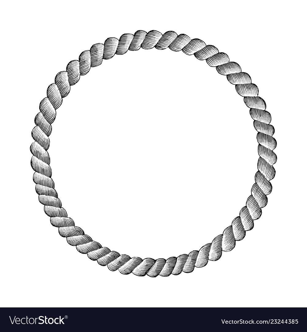 Rope circle hand drawing vintage clip art
