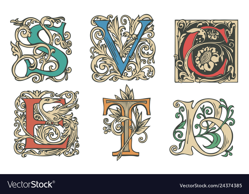 Set of decorative hand drawn initial letters