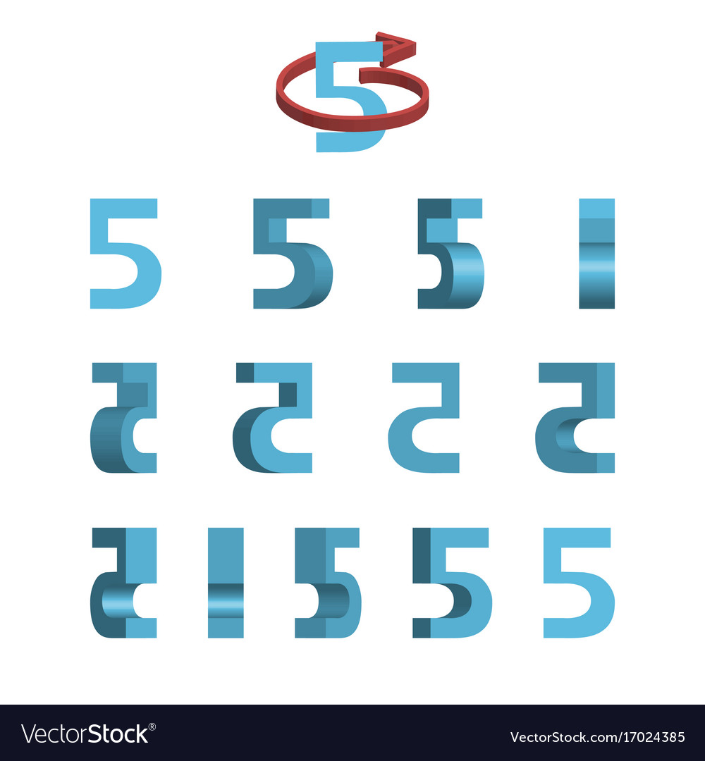 Sheet of sprites rotation of cartoon 3d number 5 Vector Image