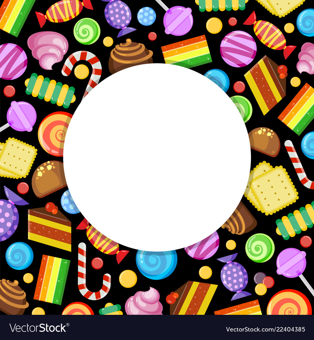 Sweets circle frame candies lollipop jelly and