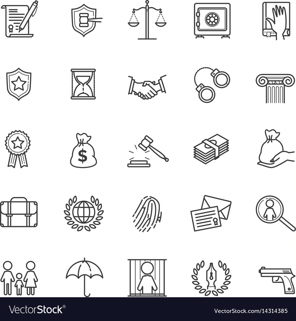 Thin line icons set - law and lawyer services