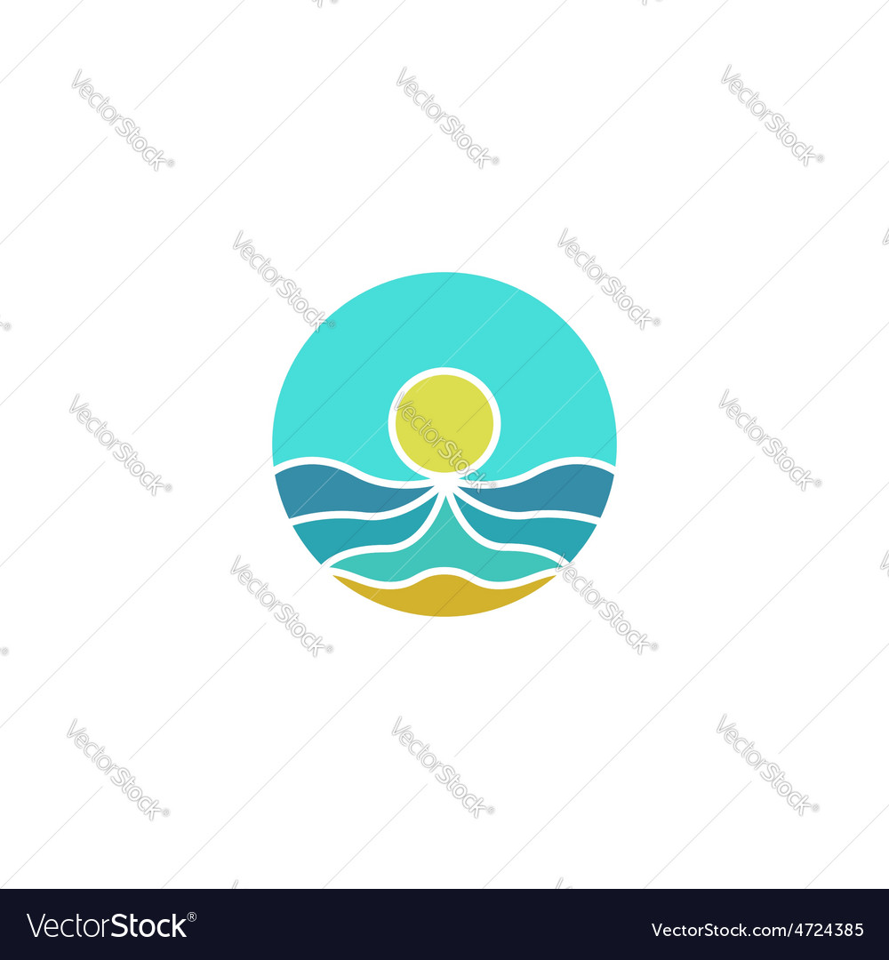 Tourism mockup logo sun sea sand abstract icon