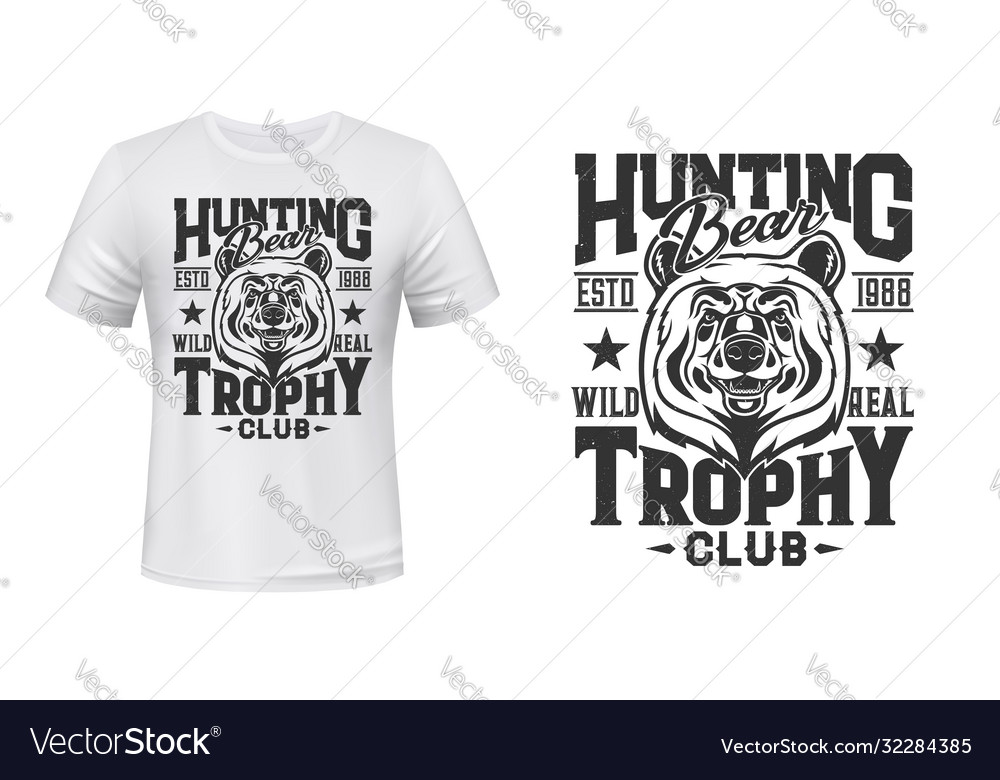 Wild bear t-shirt custom print mockup