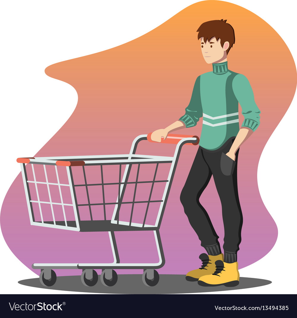 Young man pushing a shopping empty cart