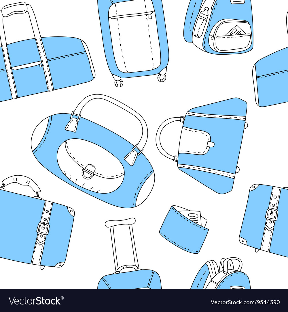 Black blue and white hand drawn travel bags
