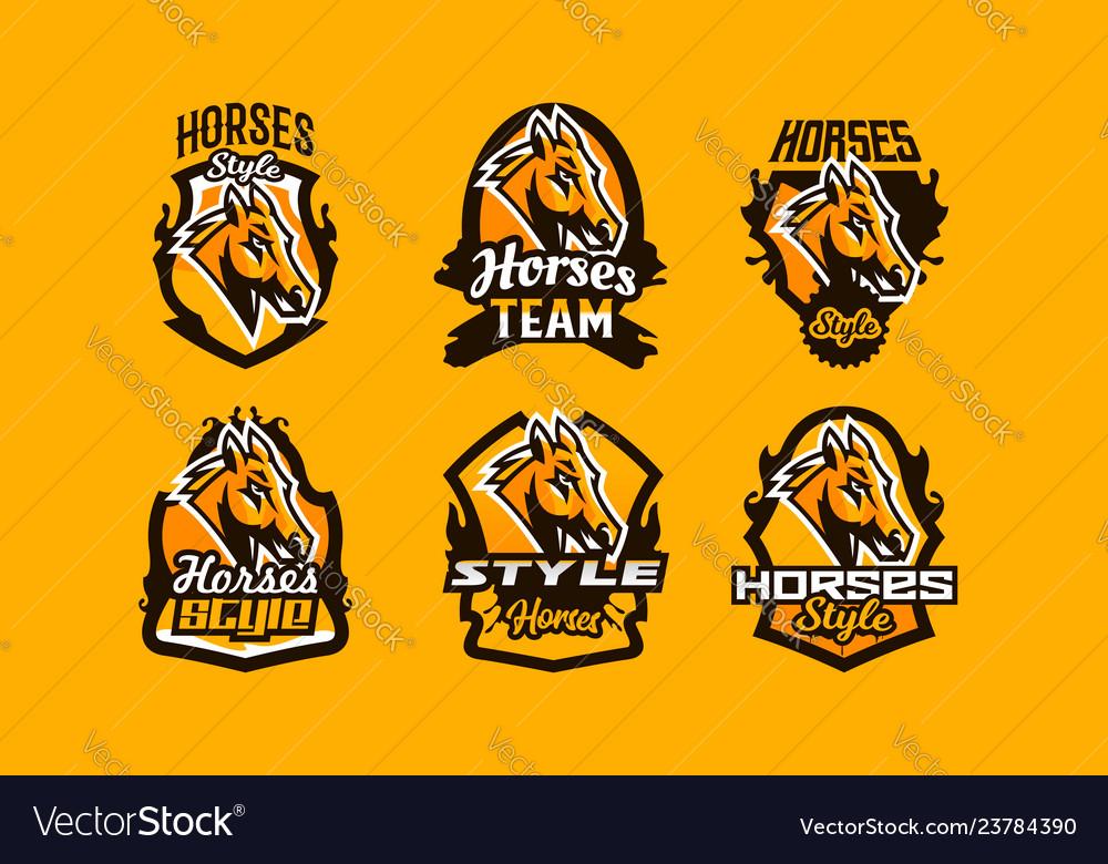 Colorful set logos icons emblems horse head