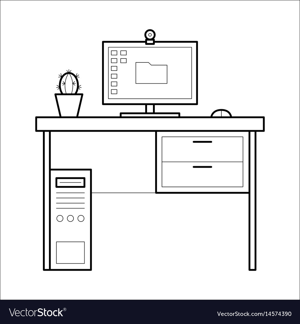 - Computer Desk - Thin Line Style Royalty Free Vector Image