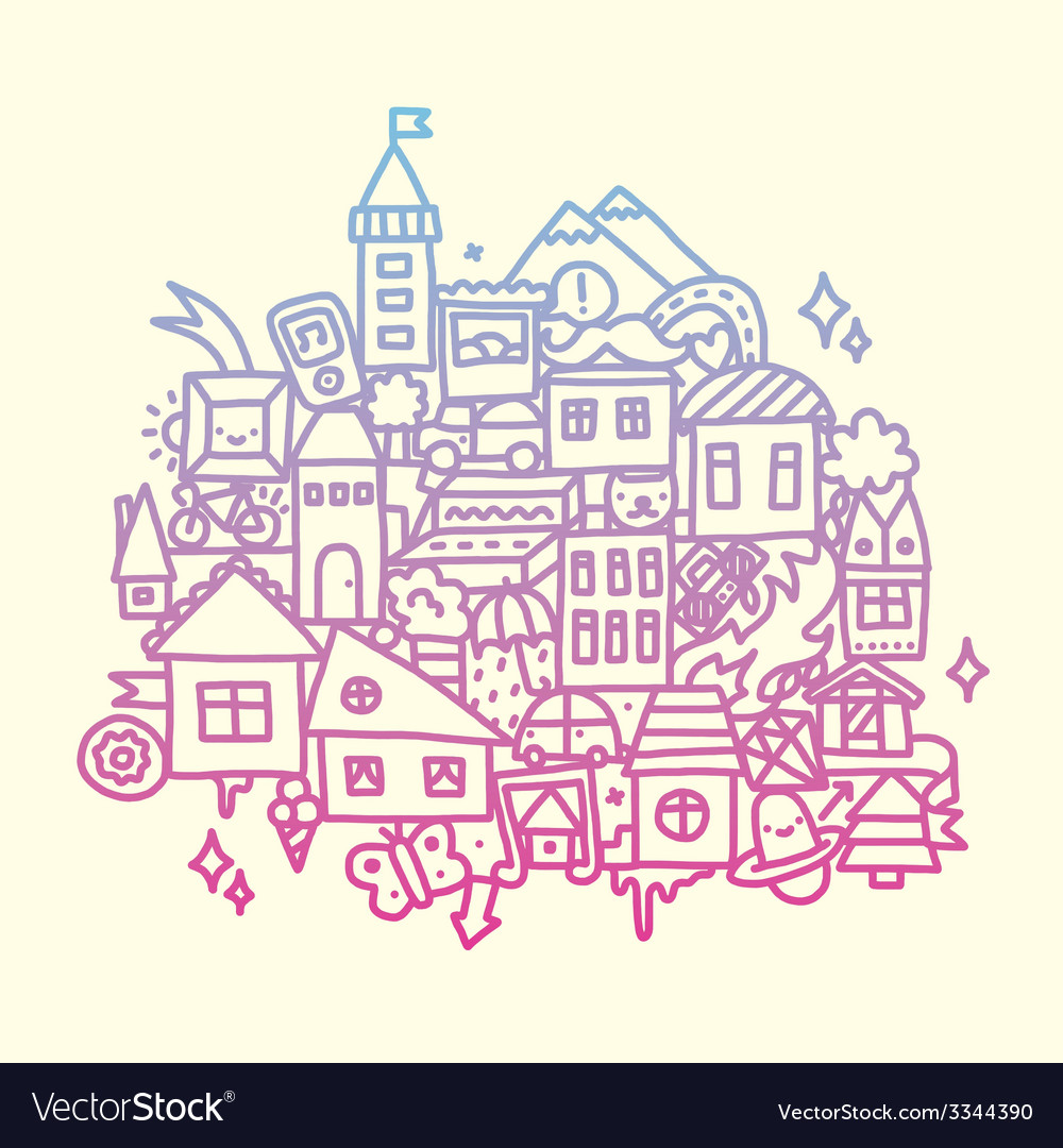 Doodle city vector image