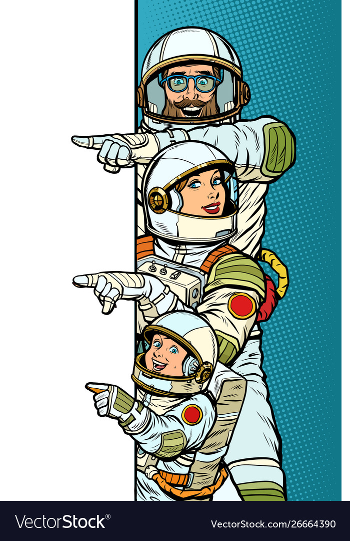 Family astronauts mom dad and son point to copy