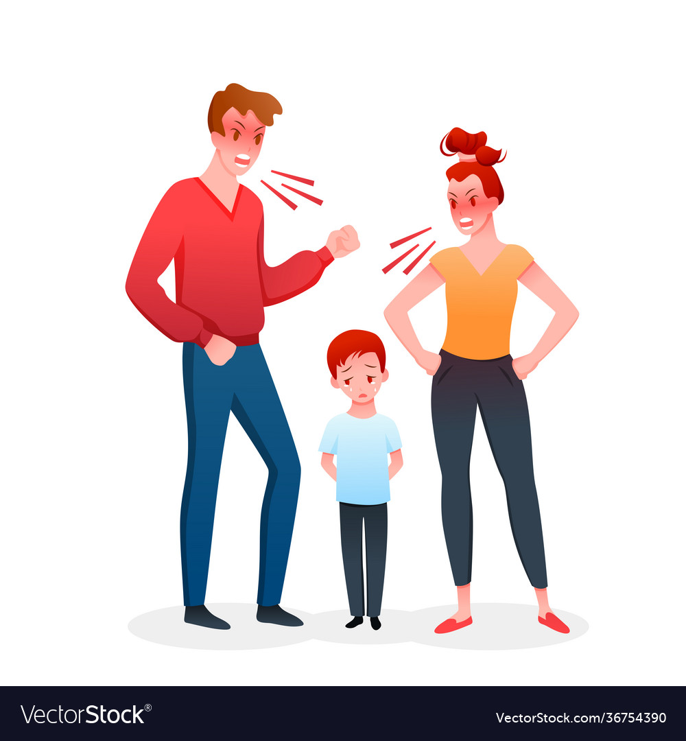 Family parents people quarrel mother and father