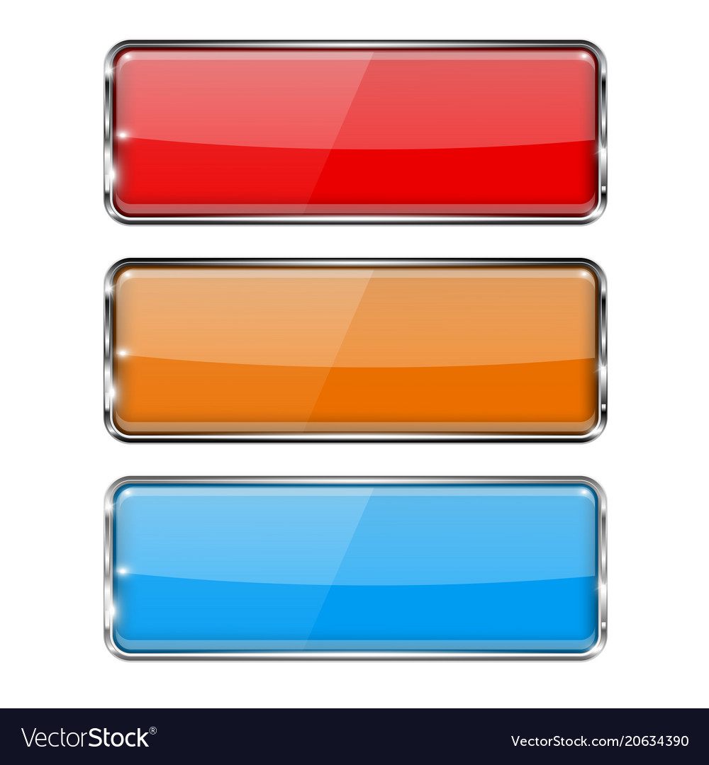 Glass buttons rectangle 3d buttons with metal