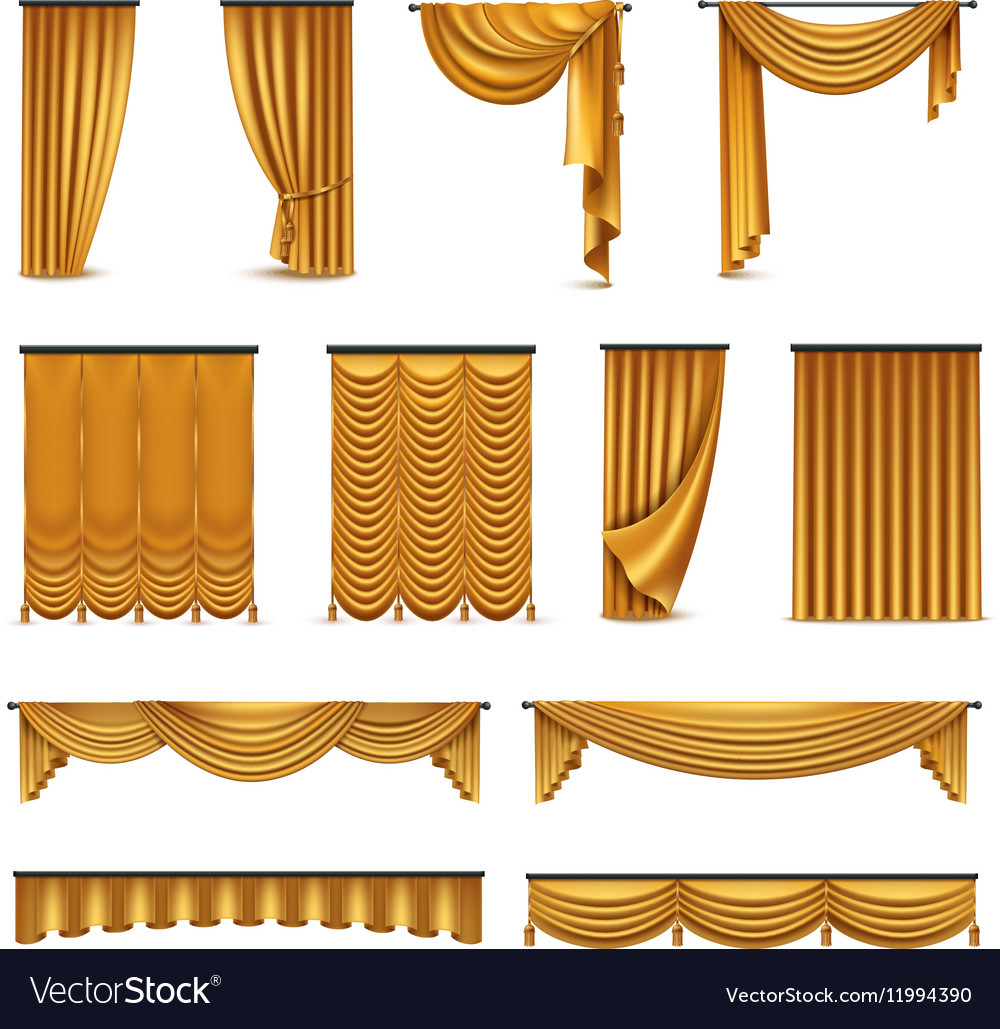 Curtains Drapery Realistic Icons Collection
