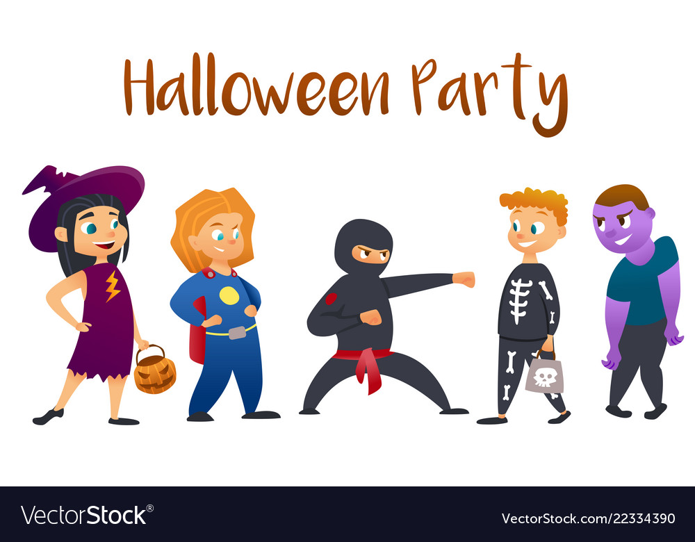 Halloween kids costume party group of kids in