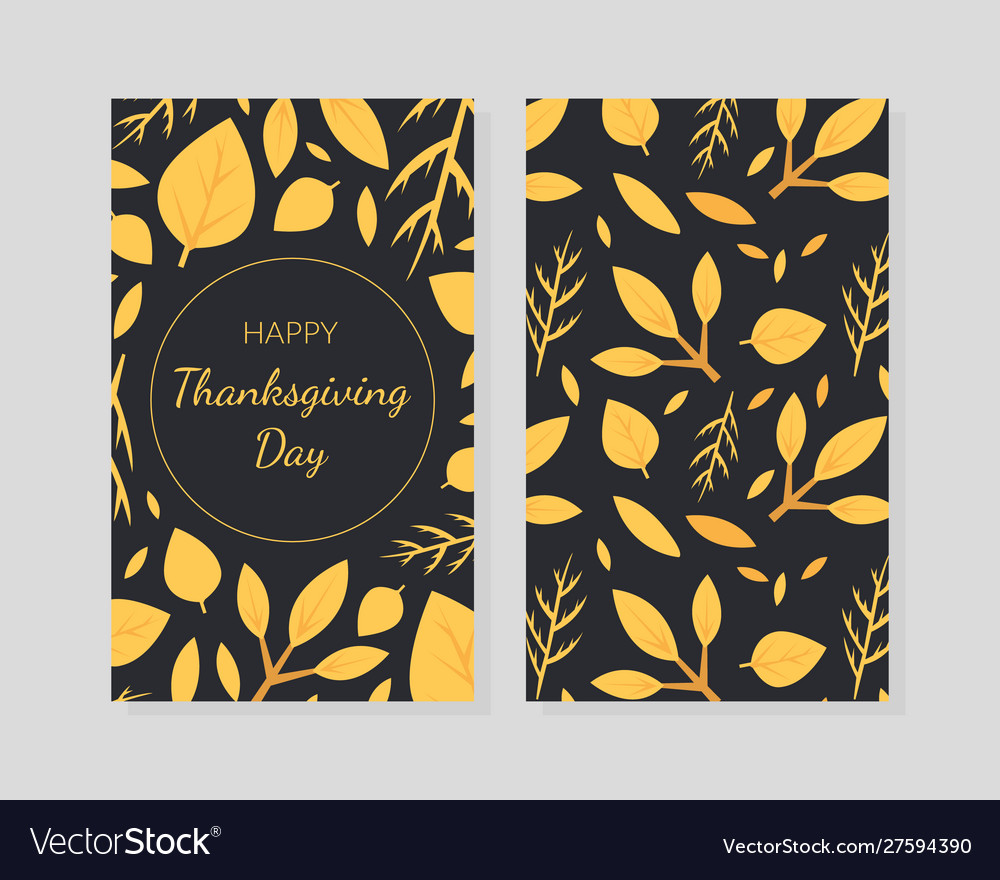 Happy thanksgiving day card template with autumn