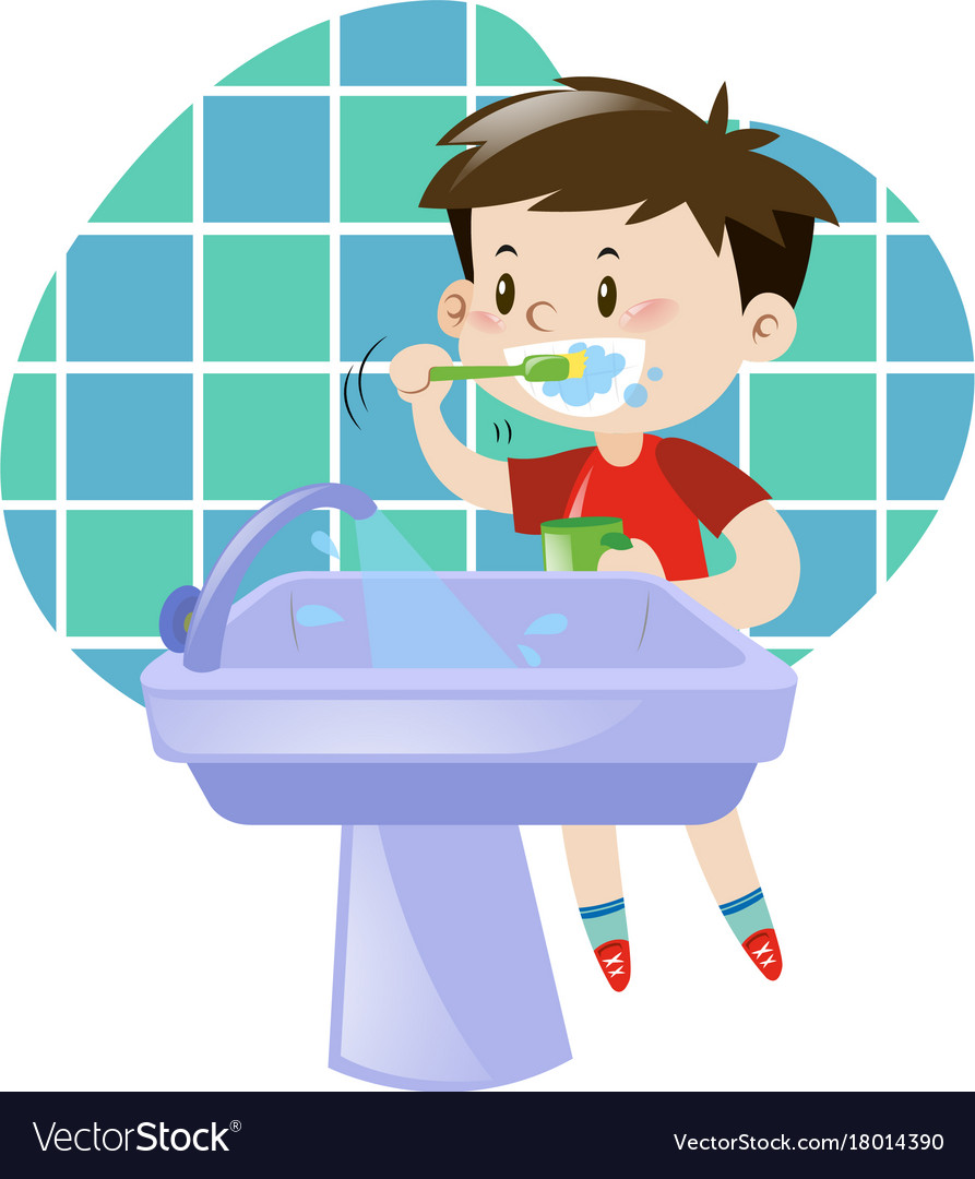 little boy brushing his teeth royalty free vector image