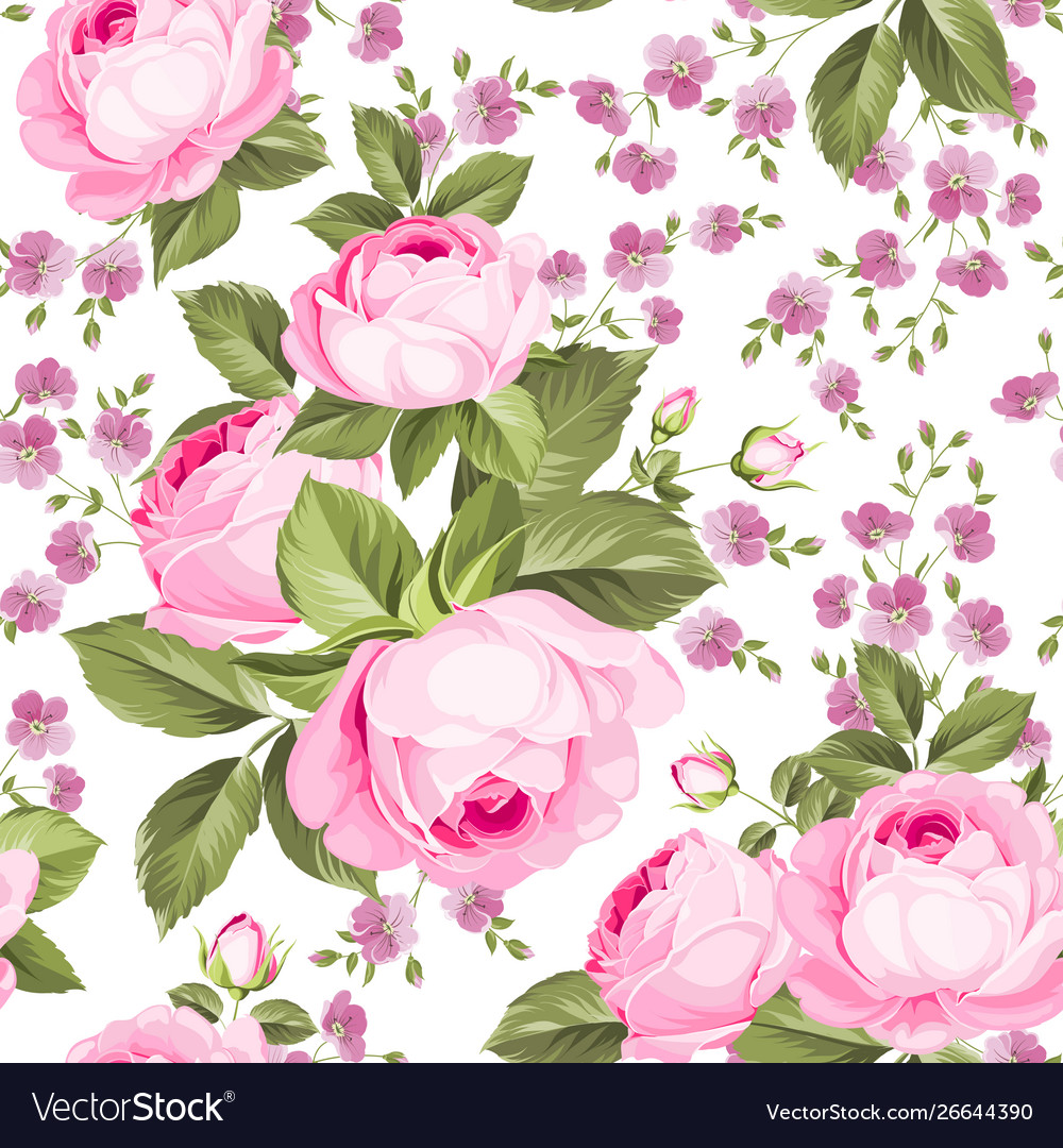 Luxurious color roses seamless pattern