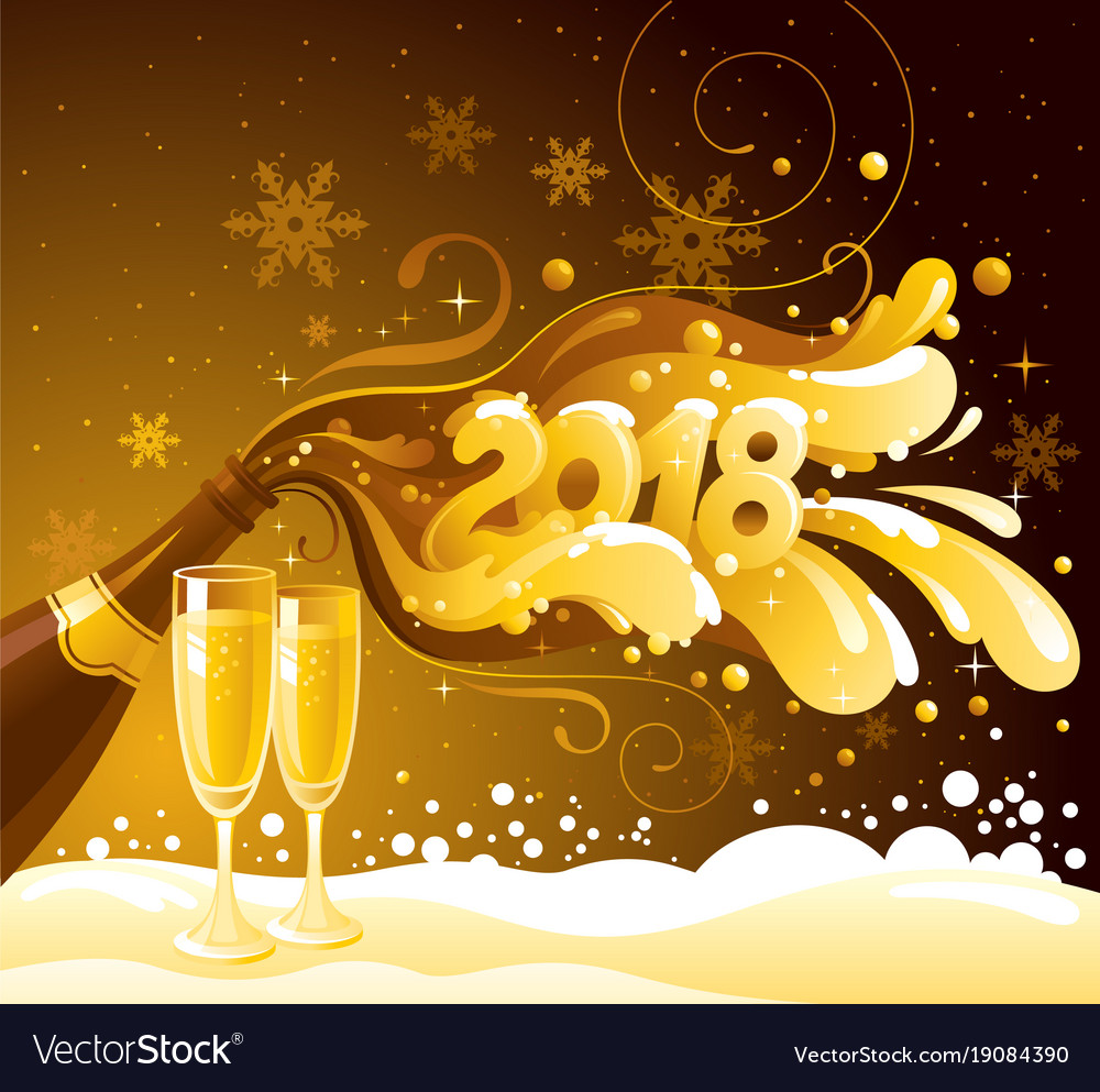 new year 2018 banner sparkling champagne vector image