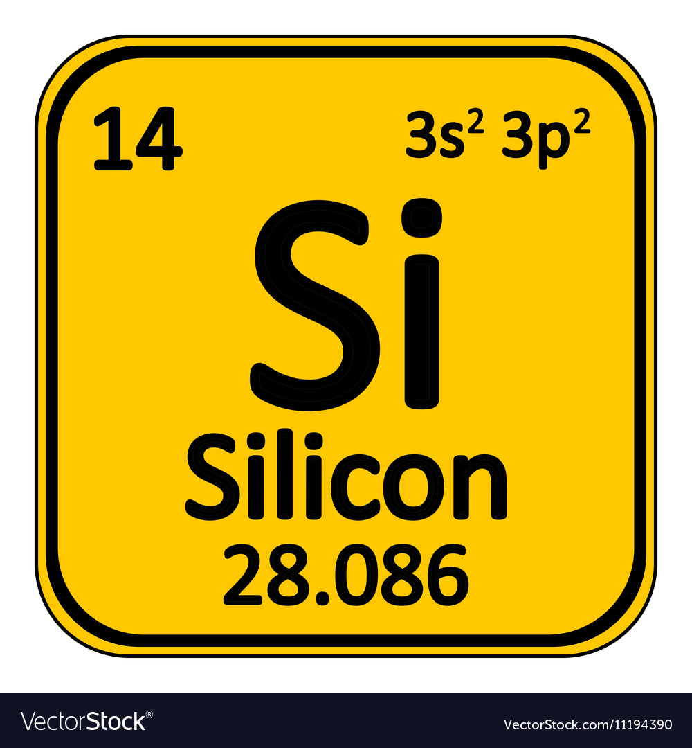 Periodic table element silicon icon