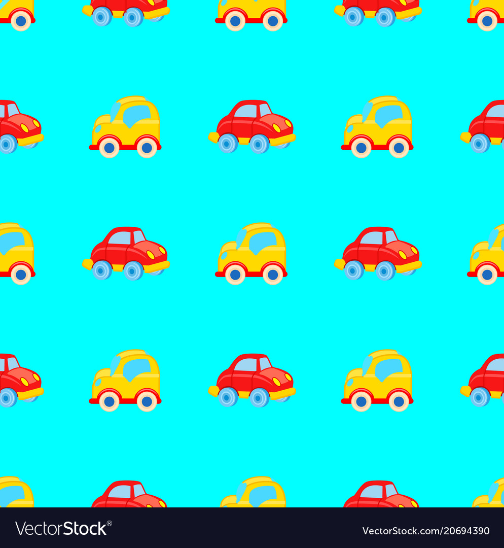 Yellow and red toy cars seamless pattern vector image
