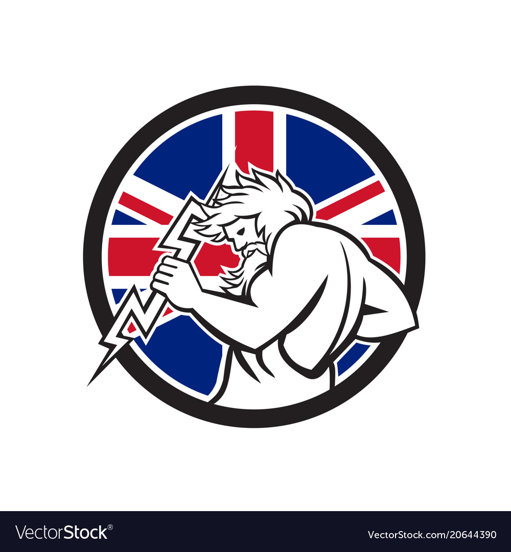 Zeus with thunderbolt union jack flag icon