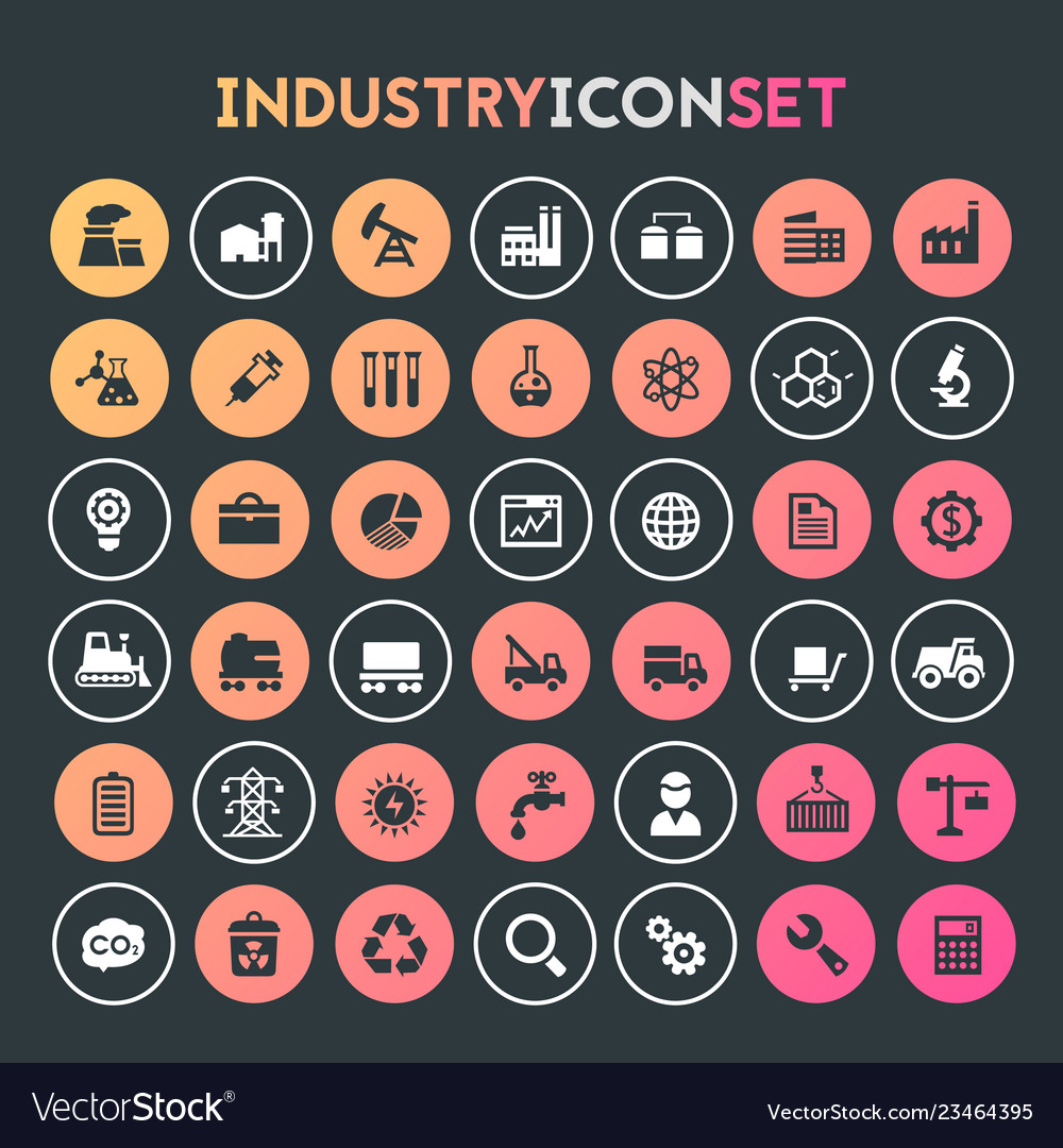 Big industry icon set trendy line icons