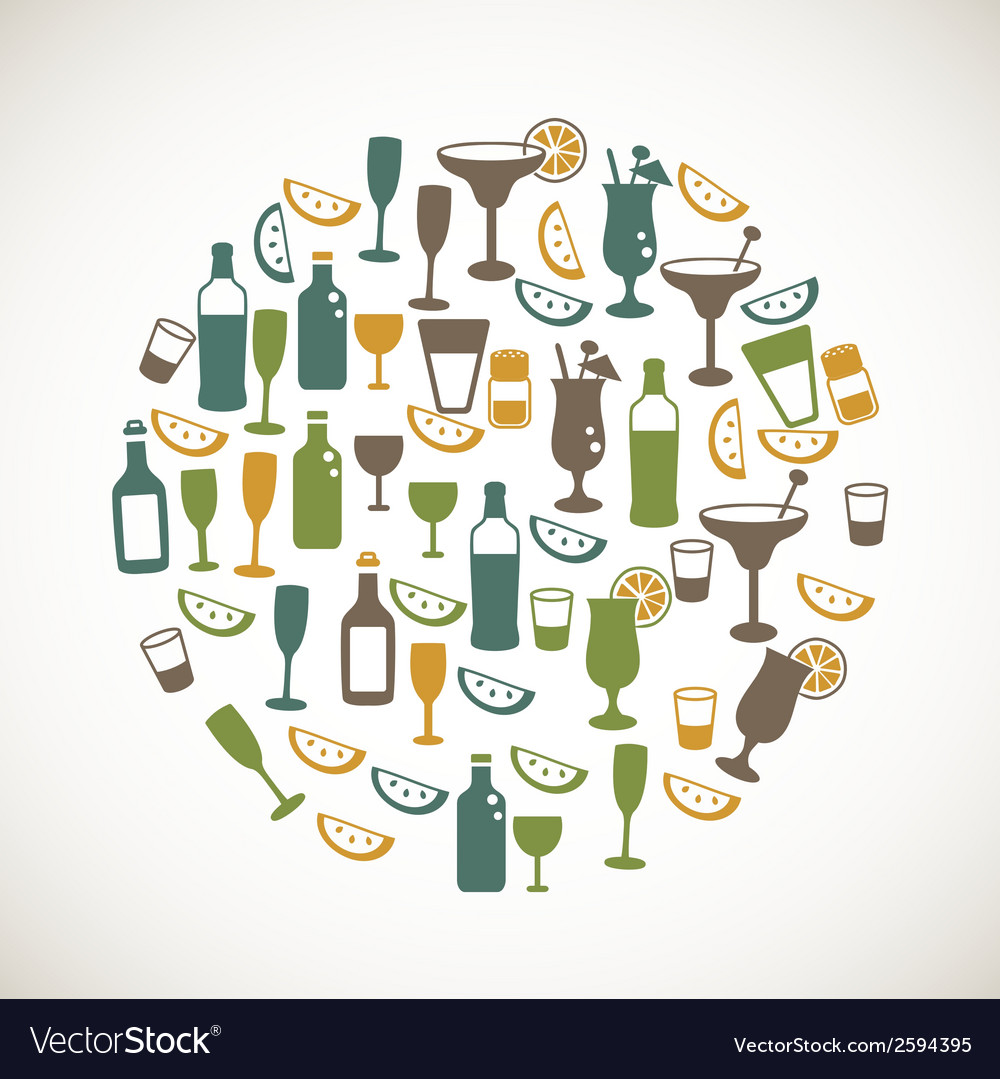 Colorful drinks icons
