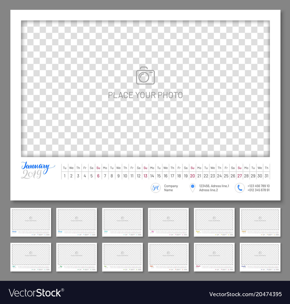 Convenient wall calendar 2019 year vector image