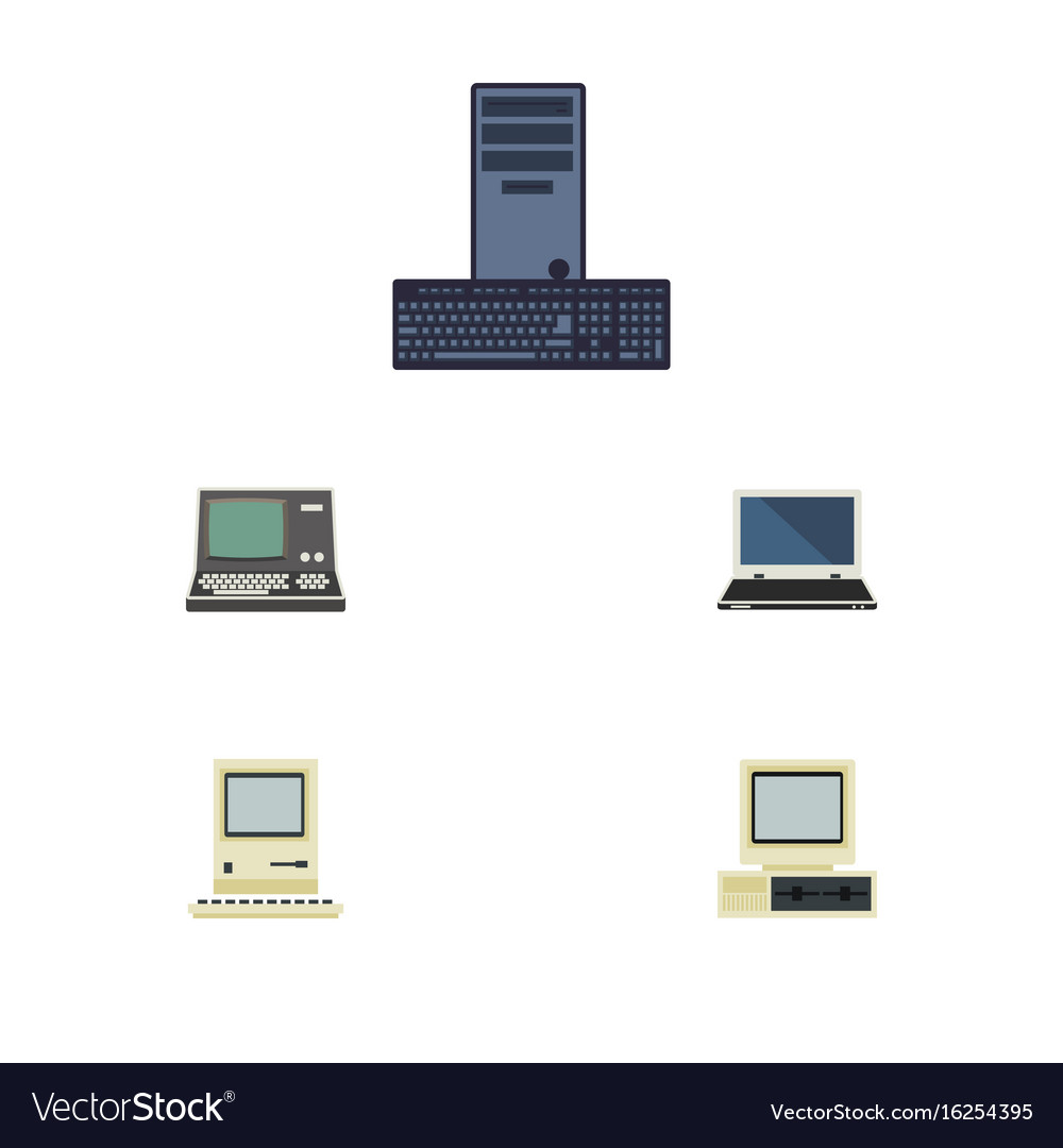 Flat icon computer set of technology processor vector image