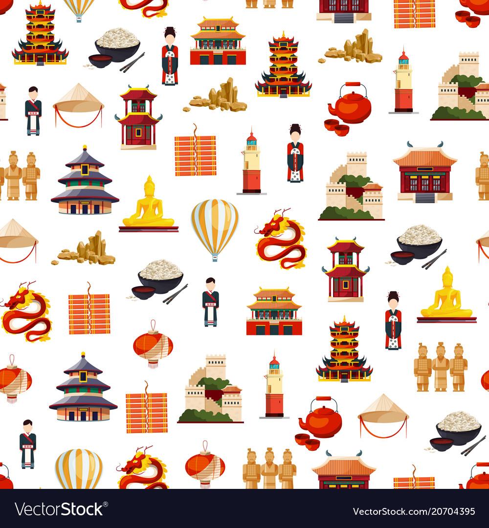 Flat style china elements pattern