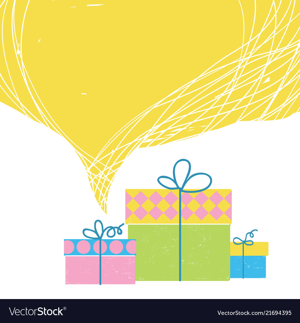 Gift boxes with ribbon and big yellow bubble