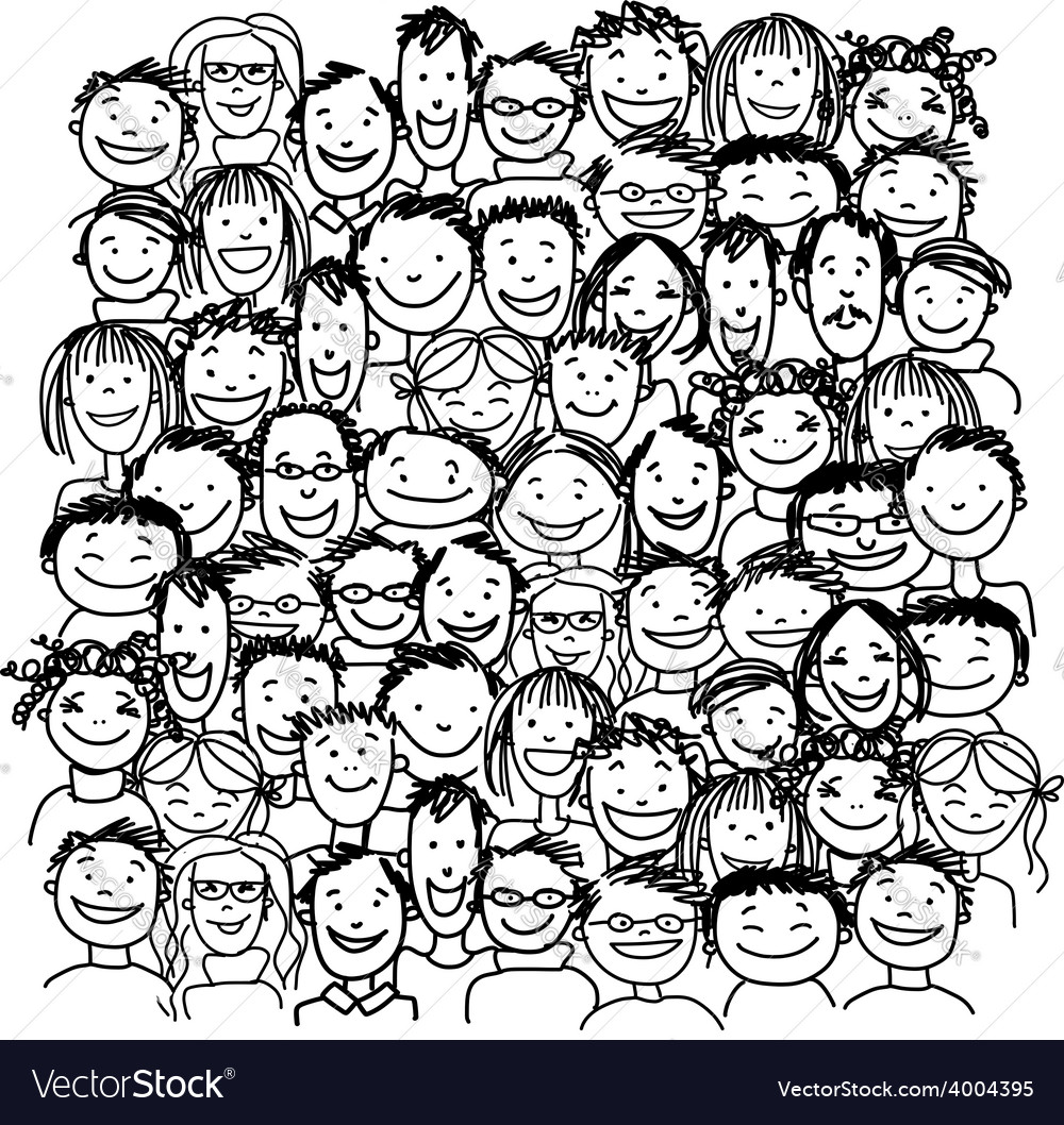 Group of people sketch for your design