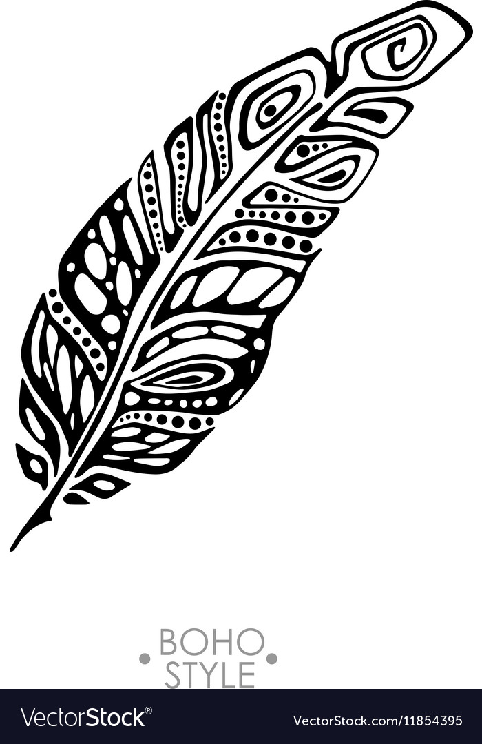 Indian Boho feather hand drawn