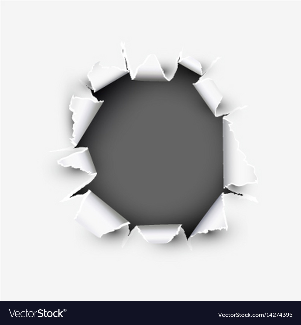 Opening round showing space in torn paper vector image