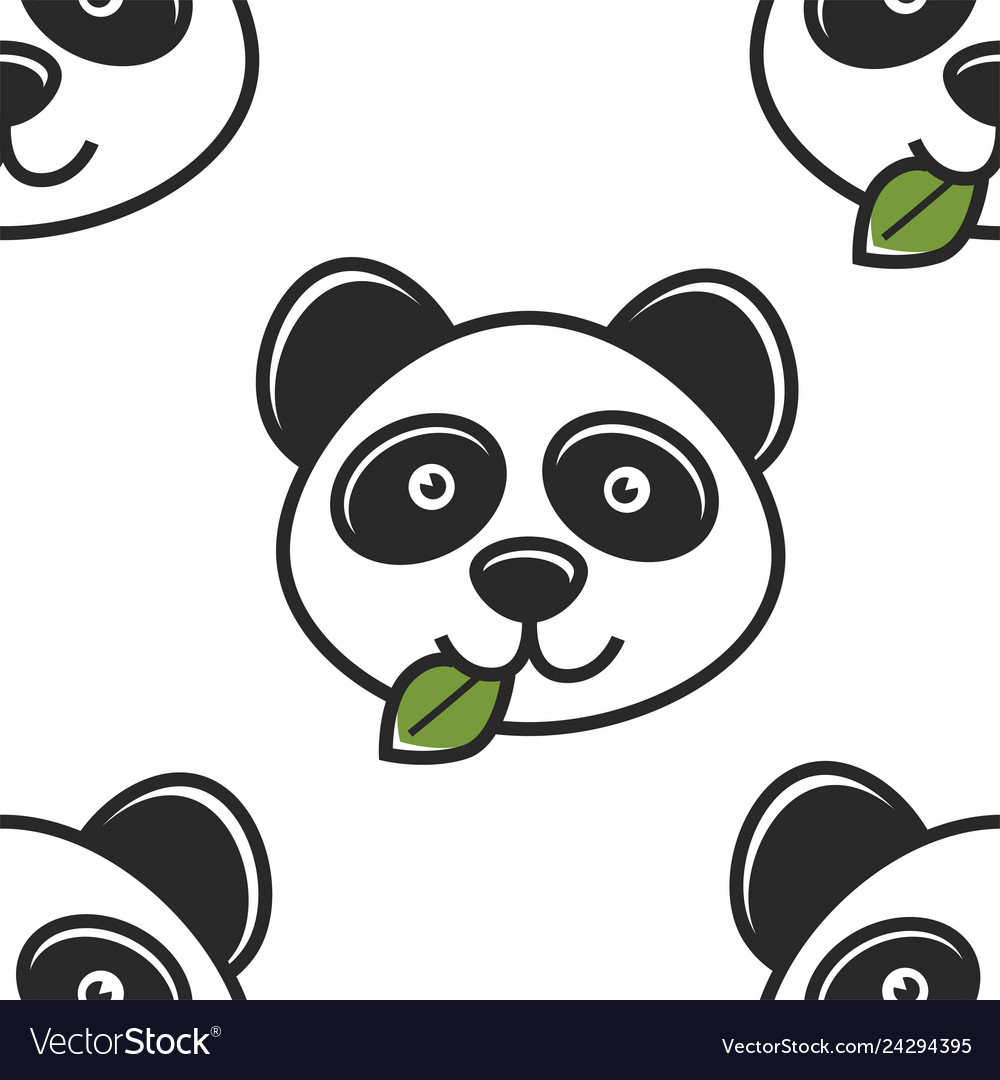 Panda with leaf in mouth seamless pattern chinese