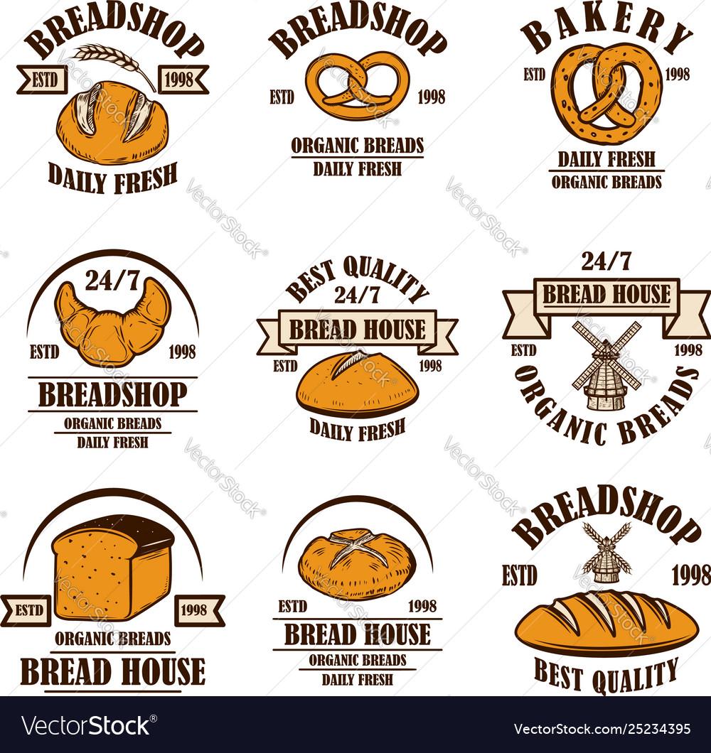 Set bakery bread shop emblems design element