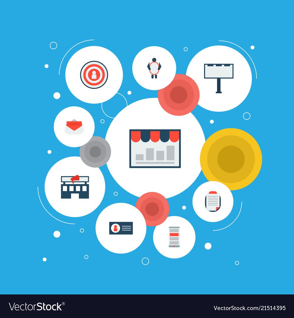 Set of marketing icons flat style symbols with